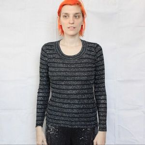 Vintage Black And Silver Metallic Stretch Sweater